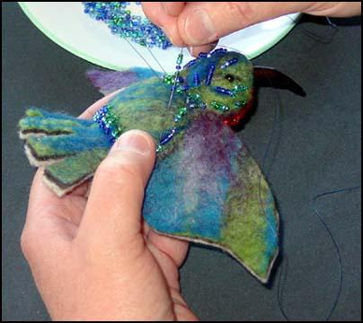 Валяние на каркасе - МК по синей птице!